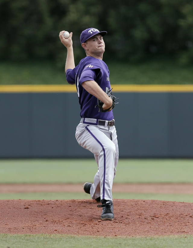 TCU starting pitcher Tyler Alexander (13) throws to Pepperdine during the first inning of an NCAA college baseball tournament super regional game in Fort Worth, Texas, Monday, June 9, 2014. (AP Photo/Brandon Wade)