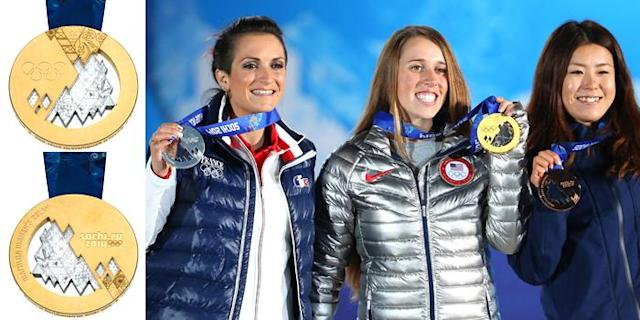 <p>The 2014 Olympic medal design was inspired by the mountains and beaches of Sochi, Russia.<br>(IOC photo; France's Marie Martinod, USA's Maddie Bowman, Japan's Ayana Onozuka with their medals/photo by Quinn Rooney/Getty Images) </p>