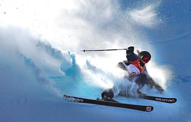 <p>Katie Summerhayes of Great Britain crashes during the Freestyle Skiing on day eight of the PyeongChang 2018 Winter Olympic Games at Phoenix Snow Park on February 17, 2018 in Pyeongchang-gun, South Korea. (Photo by Ian MacNicol/Getty Images) </p>