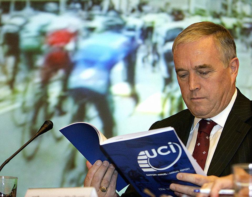 MADRID Spain  The newly elected president of the International Cycling Union UCI Irishman Pat McQuaid reads a handbook during the 174th congress of the International Cycling Union at the World road race championships in Madrid 23 September 2005 in Madrid McQuaid 56 replaces 64yearold Dutchman Hein Verbruggen who has been the president of the UCI for the past 14 years AFP PHOTOFRANCK FIFE  Photo credit should read FRANCK FIFEAFP via Getty Images