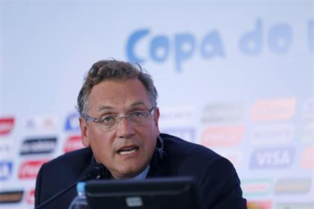 FIFA Secretary General Jerome Valcke speaks at a news conference after meeting with members of the 2014 World Cup local organizing committee in Rio de Janeiro October 10, 2013. REUTERS/Sergio Moraes