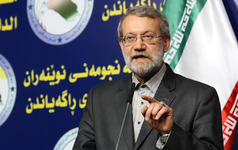 "Iranian Parliament's speaker Ali Larijani, pictured on December 24, 2014, warns world powers they ""cannot haggle"" over the nuclear issue (AFP Photo/Ali Al-Saadi)"