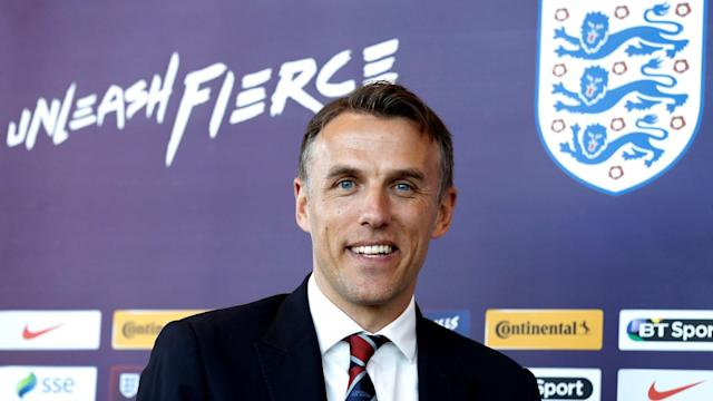 """Phil Neville has launched an impassioned defence of his appointment as England Women head coach and revealed that the controversial tweet he posted about """"battering"""" his wife was a reference to a table tennis match they had played. Neville was officially presented at St George's Park on Monday in an emotional press conference, with the 41-year-old detailing the lengthy process which led to him landing a job in charge of the third best team in women's football. But it was events from nearly seven years ago, in which he appeared to make light of domestic abuse in a post on his personal Twitter account, which dominated much of Neville's unveiling at the national centre. Apart from joking in 2011 that he had """"just battered the wife"""", he also later suggested that women would be too """"busy making breakfast/getting kids ready"""" to read his messages, while other contentious posts re-emerged before he deleted his account. But he has insisted the posts had been misinterpreted and that he has huge respect for the women's game. """"When the Football Association announced my appointment last Tuesday, it was probably one of the best moments of my career,"""" he said. """"Obviously subsequently, the last few days after that, it was very disappointing. """"But I always look at myself in the mirror. It is nobody else's fault that those words were used in 2011-12. Phil Neville was unveiled as the new England Women manager at St George's Park on Monday Credit: Action Images """"Domestic violence is a serious topic. In isolation it looks bad. It wasn't related to domestic violence, it was related, and I've no evidence to back it up and that is why I didn't come out and say it, to a competition between me and my wife on a table tennis table. But the words were terrible so I apologise. """"I don't think those tweets are a reflection of me, my character and my beliefs, the way I was brought up. """"I know my father is not with me now, but I know full well that is not the way he would want me to write, behave, a"""