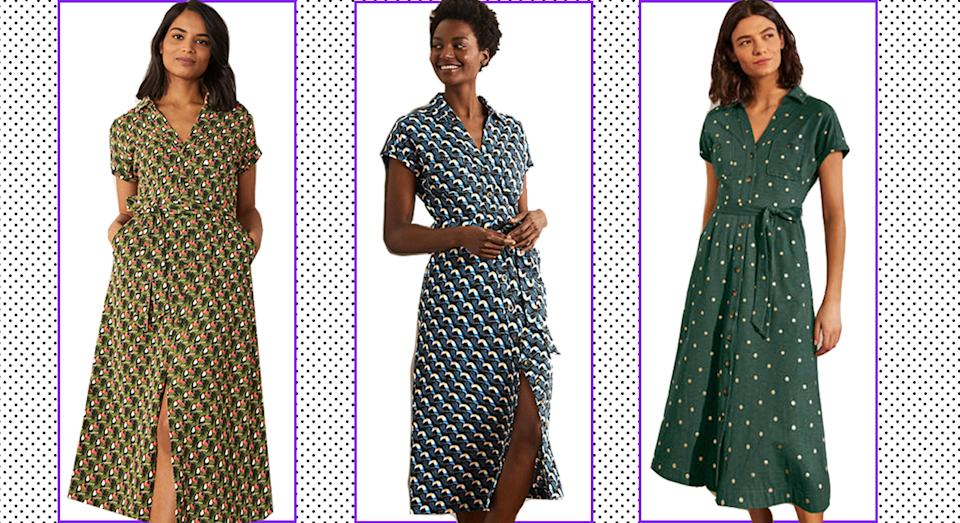 Boden's Thomasina dress comes in five colours, three of which have been reduced to an affordable £45 down from 375.  (Boden/ Yahoo Life UK)
