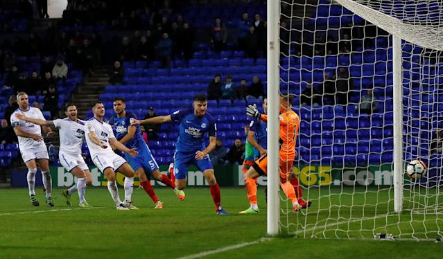 Soccer Football - FA Cup First Round Replay - Tranmere Rovers vs Peterborough United - Prenton Park, Birkenhead, Britain - November 15, 2017 Peterborough United's Jack Baldwin scores his sides third goal Action Images/Jason Cairnduff