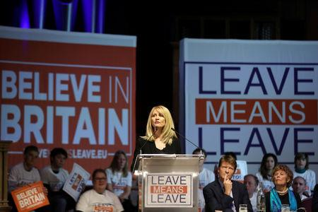 "Britain's former Secretary of State for Work and Pensions Esther McVey speaks during a ""Leave Means Leave"" rally in London"