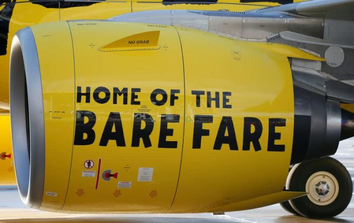FILE PHOTO: A slogan of low cost carrier Spirit Airlines is pictured on an engine in Colomiers near Toulouse