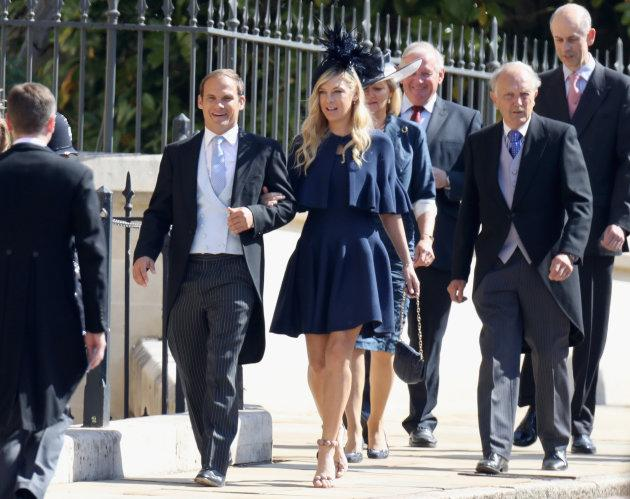 WINDSOR, ENGLAND - MAY 19: Chelsy Davy (C) arrives at the wedding of Prince Harry to Ms Meghan Markle at St George's Chapel, Windsor Castle on May 19, 2018 in Windsor, England. Prince Henry Charles Albert David of Wales marries Ms. Meghan Markle in a service at St George's Chapel inside the grounds of Windsor Castle. Among the guests were 2200 members of the public, the royal family and Ms. Markle's Mother Doria Ragland. (Photo by Chris Jackson/Getty Images)
