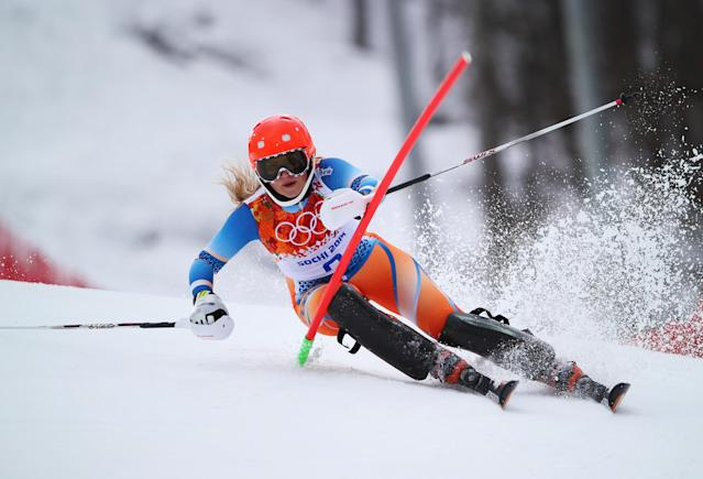 SOCHI, RUSSIA - FEBRUARY 10: Ragnhild Mowinckel of Norway in action during the Alpine Skiing Women's Super Combined Slalom on day 3 of the Sochi 2014 Winter Olympics at Rosa Khutor Alpine Center on February 10, 2014 in Sochi, Russia. (Photo by Clive Rose/Getty Images)