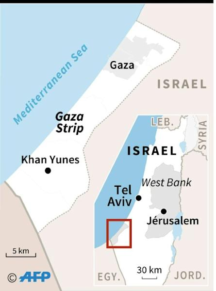 "Map locating the Gaza Strip, where Israeli planes and tanks struck ""military targets"" on Friday in response to gunfire aimed at Israeli troops, the government said"