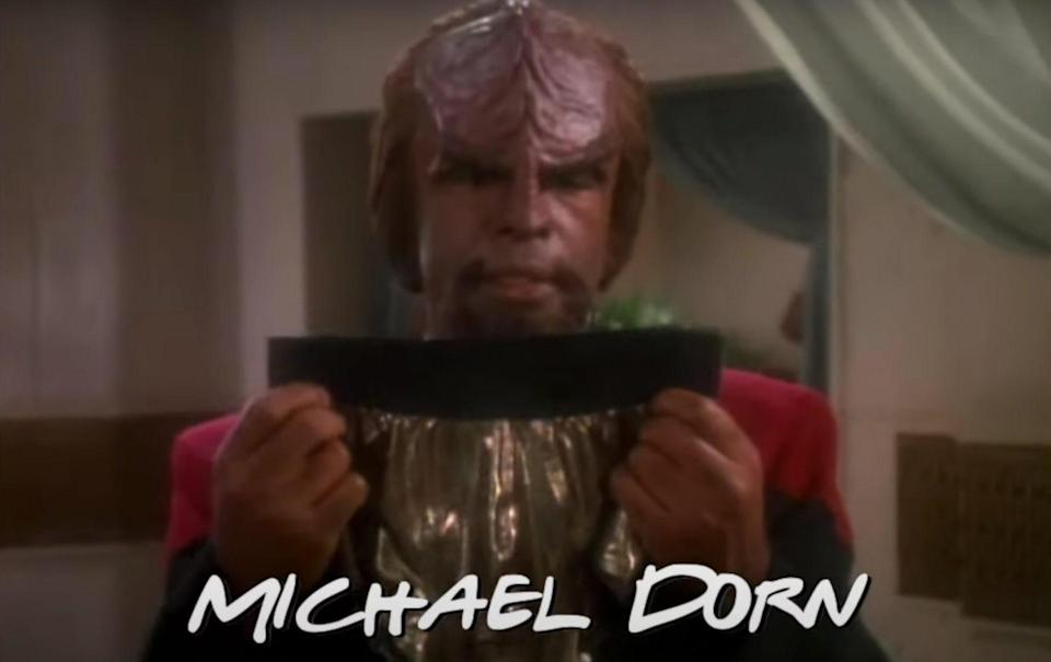 Worf from Deep Space Nine looking at gold underwear from Deep Space Nine Friends Mashup