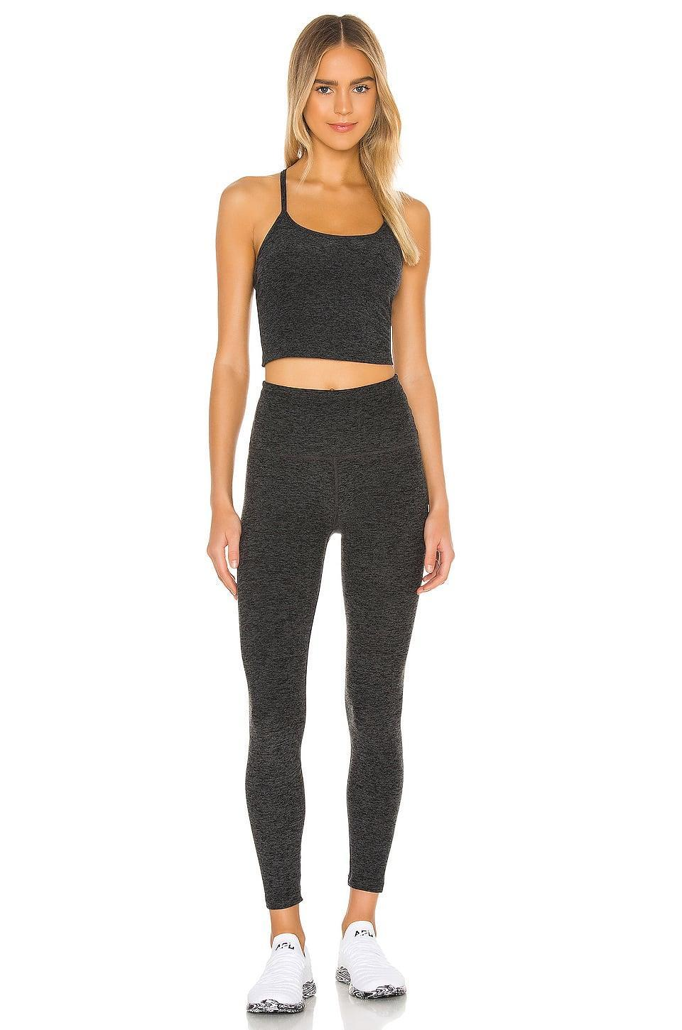<p>The material on this <span>Beyond Yoga Spacedye Slim Racerback Cropped Tank</span> ($66) and <span>Take Me Higher Midi Legging</span> ($110) is buttery soft but still thick. In short, they won't want to take it off.</p>