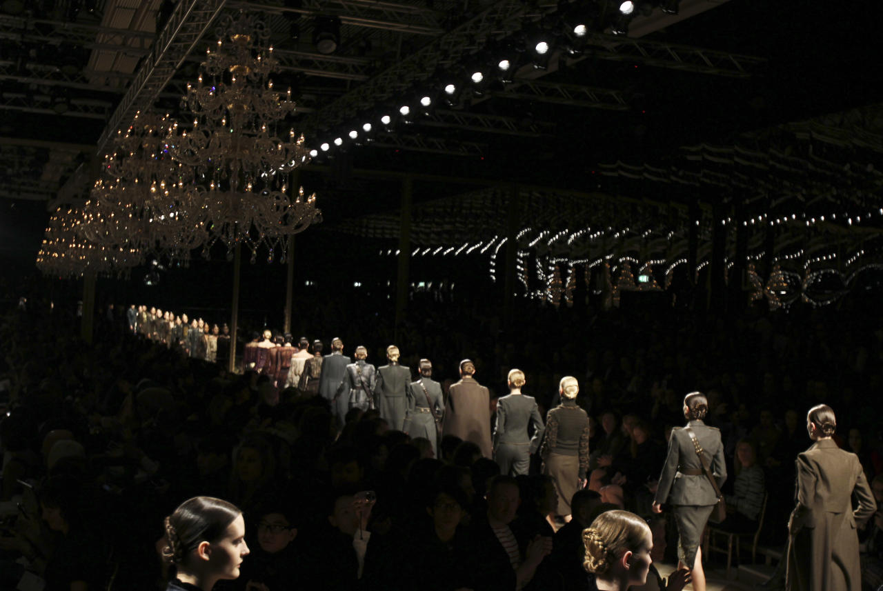Models on parade during the finale at the Salvatore Ferragamo women's Fall-Winter 2012-13 fashion collection, presented in Milan, Italy, Sunday, Feb. 26, 2012. (AP Photo/Antonio Calanni)