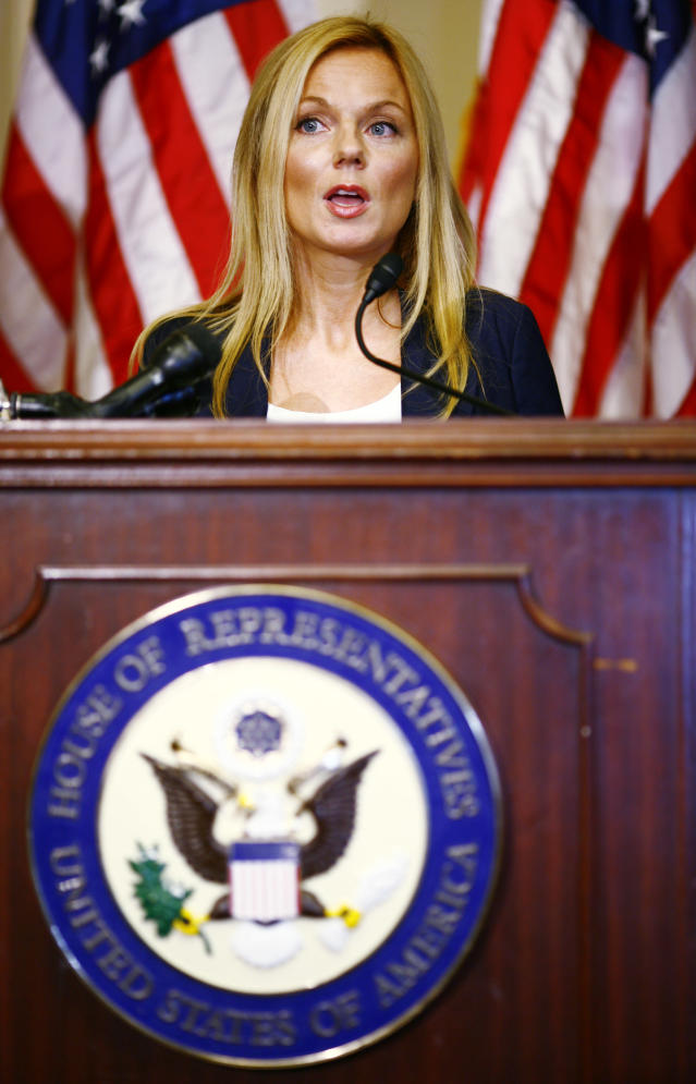 WASHINGTON - MAY 20: Singer Geri Halliwell of the music group the Spice Girls speaks at a news conference on global maternal issues at the Longworth House Office Building May 20, 2008 in Washington, D.C. Model Christy Turlington and United Nations Goodwill Ambassador and Spice Girl Geri Halliwell were in attendance for the news conference by a bipartisan congressional alliance to bring attention to House Resolution 1022 calling for a reduction in maternal mortality both in the U.S. and abroad. (Photo by Melissa Golden/Getty Images)