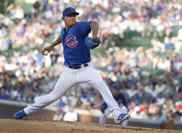 Chicago Cubs starting pitcher Adbert Alzolay delivers during the second inning of a baseball game against the Atlanta Braves, Tuesday, June 25, 2019, in Chicago. (AP Photo/Charles Rex Arbogast)