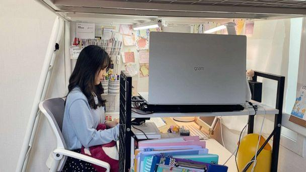 PHOTO: 27-year-old Hani Kang broadcasts herself studying on her YouTube channel in Suwon, South Korea, April 18, 2021. (ABC News)