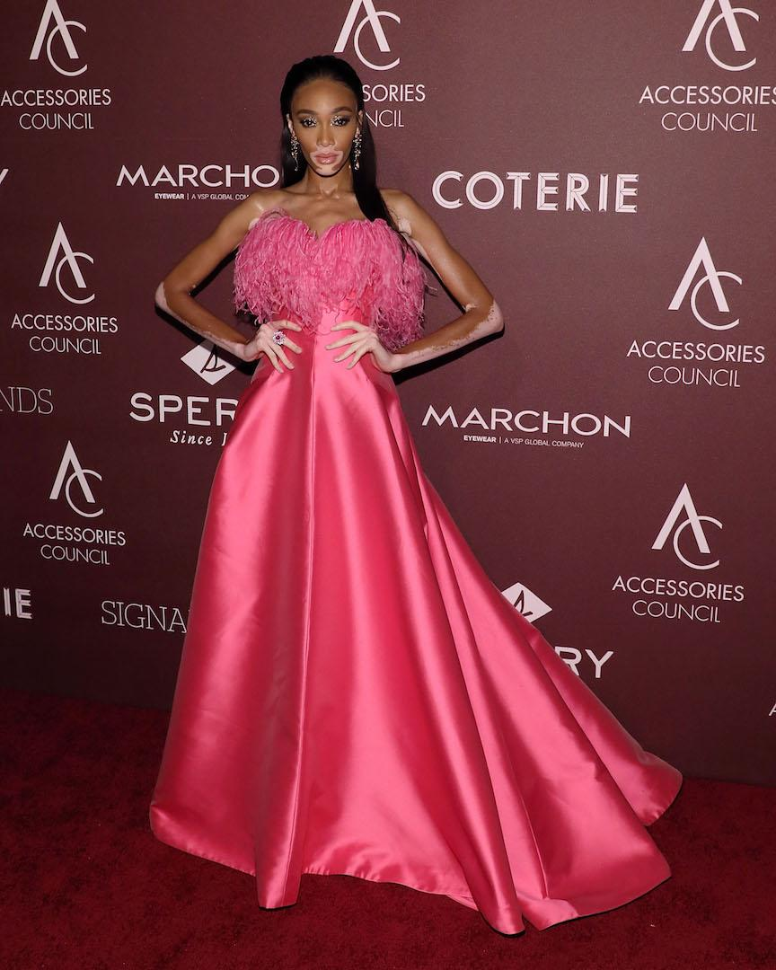 For the New York bash, supermodel Winnie Harlow chose a hot pink (gloriously feathered) gown by Alexis Mabille. <em>[Photo: Getty]</em>