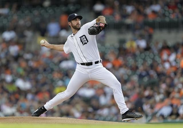 Detroit Tigers pitcher Justin Verlander throws against the Kansas City Royals in the first inning of a baseball game in Detroit, Monday, June 16, 2014. (AP Photo/Paul Sancya)