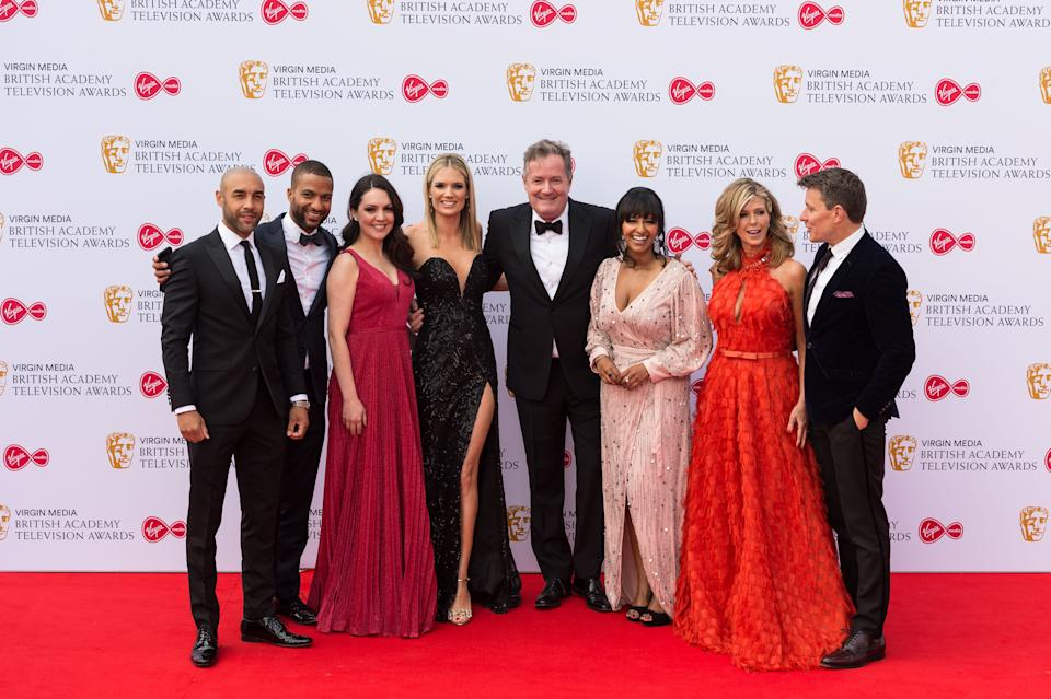 LONDON, UNITED KINGDOM - MAY 12: (L-R) Piers Morgan (C) and cast of Good Morning Britain attend the Virgin Media British Academy Television Awards ceremony at the Royal Festival Hall on 12 May, 2019 in London, England. (Photo credit should read Wiktor Szymanowicz / Barcroft Media via Getty Images)