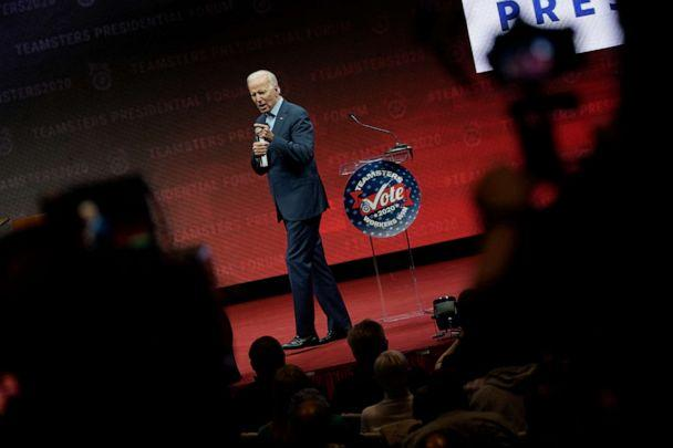 PHOTO: Democratic presidential candidate and former Vice president Joe Biden speaks at the Teamsters Vote 2020 Presidential Candidate Forum, Dec. 7, 2019, in Cedar Rapids, Iowa. (Win Mcnamee/Getty Images)