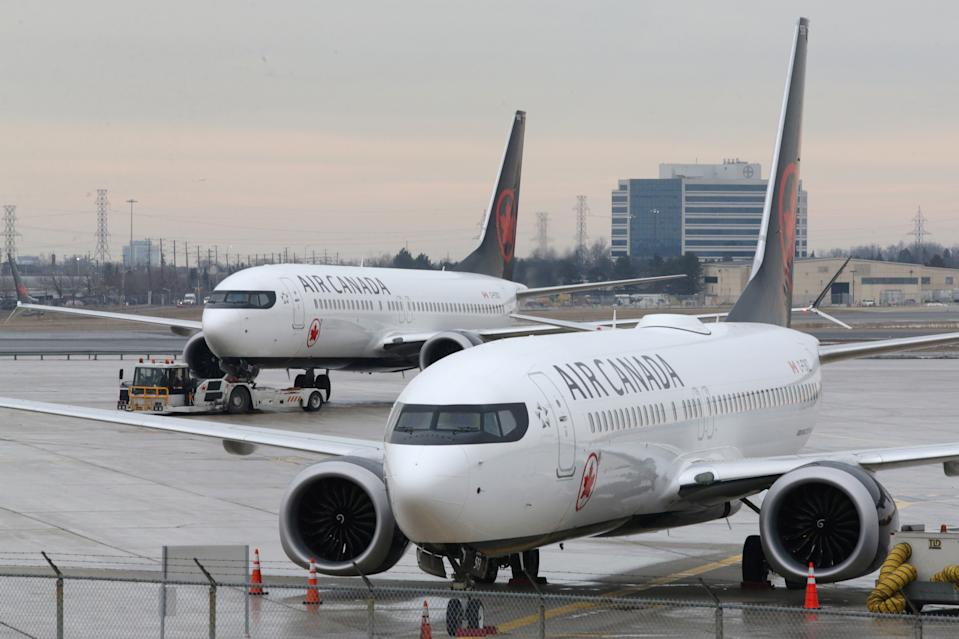 Pictured is an An Air Canada aircraft on the ground at Toronto Pearson International Airport in Toronto, Ontario, Canada.