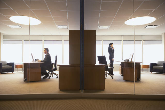Office spaces could change post-coronavirus to support social distancing in the workplace. (Getty)