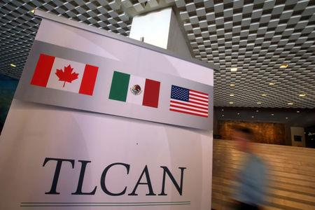 A NAFTA banner is seen during the fifth round of NAFTA talks involving the United States, Mexico and Canada, in Mexico City