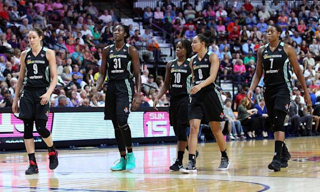 "<span class=""element-image__caption"">The New York Liberty, led by All-Star center <a class=""link rapid-noclick-resp"" href=""/wnba/players/4613/"" data-ylk=""slk:Tina Charles"">Tina Charles</a>, will play home games at the Westchester County Center, a far cry from the glare of Madison Square Garden.</span> <span class=""element-image__credit"">Photograph: Mingo Nesmith/AP</span>"