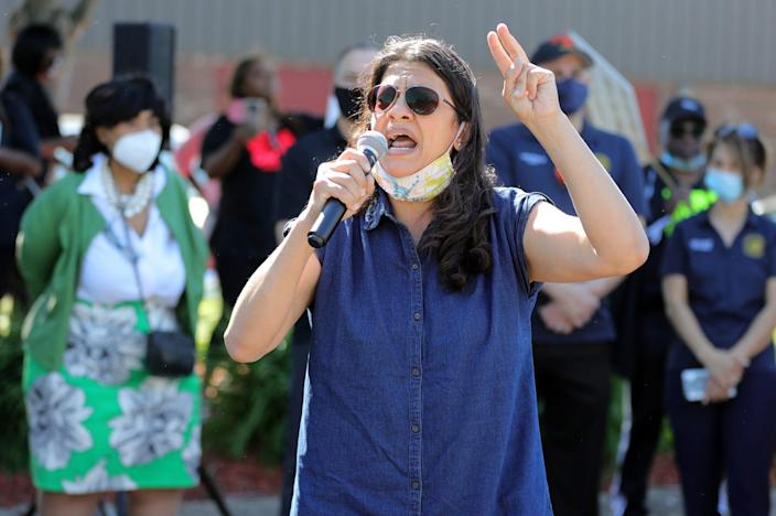 On Sunday, June 14, 2020, Senator Rashida Tribe spoke to a group gathered at the Burning Bush Ministry of International Affairs before leading a march against police atrocities in Westland, Michigan.