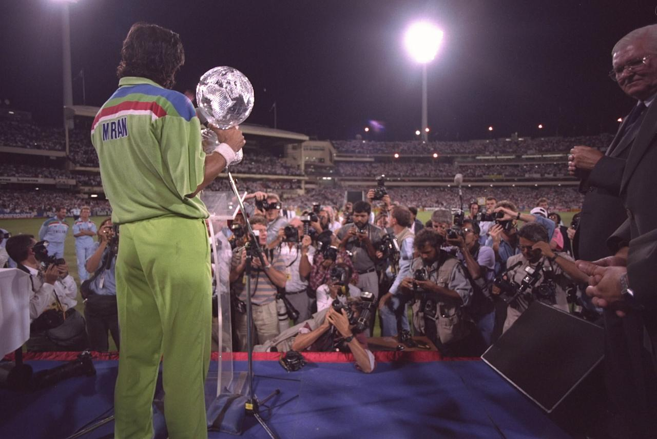 1992:  Imran Khan of Pakistan faces the world's media after his team beat England in the final of the Cricket World Cup in Melbourne, Australia