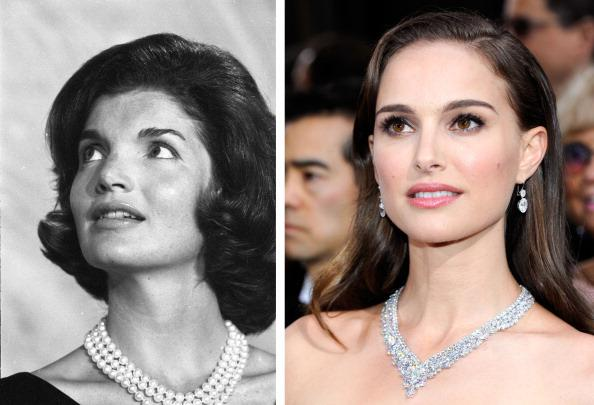 (FILE PHOTO) In this composite image a comparison has been made between Jacqueline Kennedy (L) and Natalie Portman. Actress Natalie Portman is in talks to reportedly play former First Lady Jacqueline Kennedy in a film biopic. ***LEFT IMAGE***  1960:  Close-up of American future First Lady Jacqueline Kennedy (1929 - 1994), Goergetown, Virginia, September 2, 1960. (Photo by Ed Clark/Time & Life Pictures/Getty Images) ***RIGHT IMAGE*** HOLLYWOOD, CA - FEBRUARY 26:  Actress Natalie Portman arrives at the 84th Annual Academy Awards held at the Hollywood & Highland Center on February 26, 2012 in Hollywood, California.  (Photo by Ethan Miller/Getty Images)