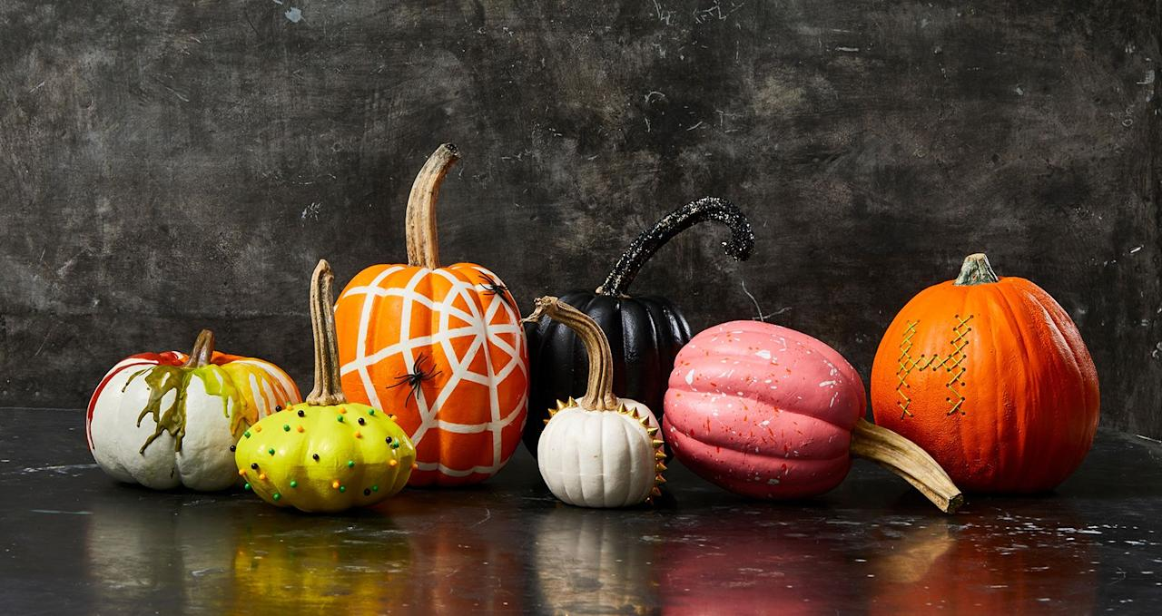 """<p>No carving skills? No problem. You can still create gorgeous, festive Halloween decorations with fun additions that let you be even more creative than completing a simple carving. <a href=""""https://www.goodhousekeeping.com/holidays/halloween-ideas/g2592/pumpkin-painting-ideas/"""" target=""""_blank"""">Painted pumpkin faces</a> and pumpkins spray-painted with stencils are just the beginning. Think pom-poms, glitter, and way more! The options are endless ... and they don't require making a huge mess of pumpkin innards that you'll have to clean up. (Although, if you do prefer to go the <a href=""""https://www.goodhousekeeping.com/holidays/halloween-ideas/g238/pumpkin-carving-ideas/"""" target=""""_blank"""">pumpkin carving route</a> and wind up with a bunch of extra seeds, <a href=""""https://www.goodhousekeeping.com/holidays/halloween-ideas/g2767/pumpkin-seed-recipes/"""" target=""""_blank"""">pumpkin seed recipes</a> can be pretty delicious.)</p><p>No-carve pumpkin ideas are great for completing with the kids to make decorating for Halloween a fun-filled family activity. Whether you make a trip to the craft store or just work with paint and things you have around the house, these pumpkins will help you create decorations that are sure to have the whole neighborhood talking. Give your <a href=""""http://www.goodhousekeeping.com/holidays/halloween-ideas/g238/pumpkin-carving-ideas/"""" target=""""_blank"""">jack-o'-lanterns</a> a spooky or pretty makeover with these easy DIYs that use<a href=""""https://www.amazon.com/Painting-Decorative-Collection-Wrapping-Colorful/dp/B075QDBS51"""" target=""""_blank""""> washi tape paint</a>, googly eyes, and other creative accessories. And as an added bonus is that these no-carve pumpkins last much longer than their counterparts, so show 'em proud all season long. </p>"""
