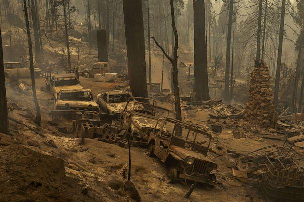 PHOTO: A community of forest homes lies in ruins along Auberry Road in the Meadow Lakes area after the Creek Fire swept through, Sept. 8, 2020, near Shaver Lake, Calif. (David Mcnew/Getty Images)