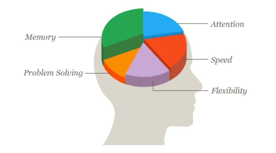A breakdown of cognitive skills including, memory, attention, speed, flexibility, and problem solving