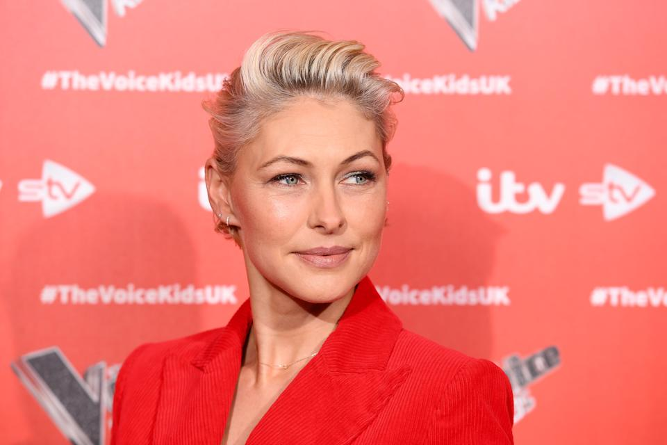 "Emma Willis attends a photocall to launch the new series of ""The Voice Kids"" at The RSA on June 06, 2019 in London, England. (Photo by Jeff Spicer/Getty Images)"