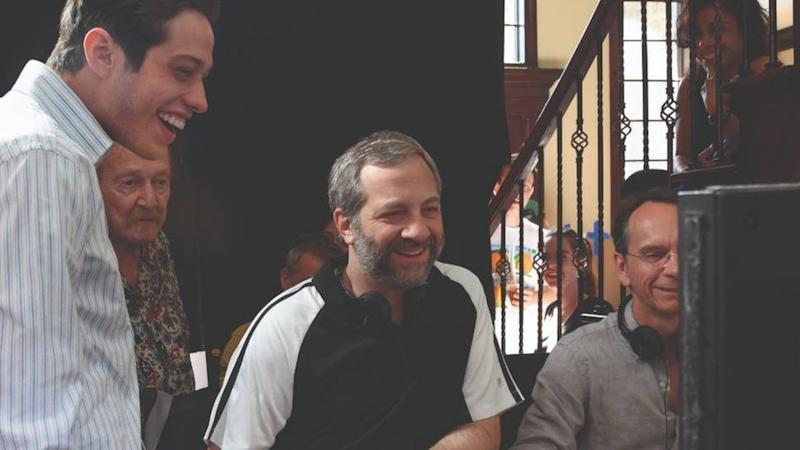 Judd Apatow and Pete Davidson on-set