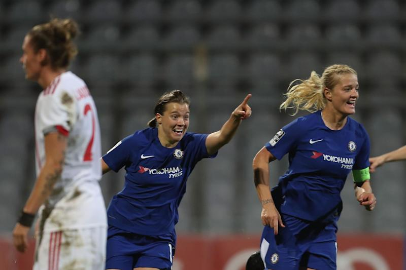 Jubilation | Fran Kirby (centre) celebrates her goal in Munich: Chelsea FC via Getty Images