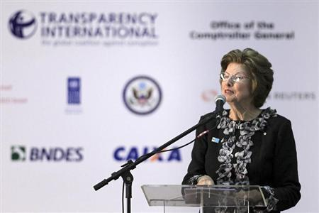 "Chair of Transparency International Huguette Labelle speaks during The 15th biennial International Anti-Corruption Conference ""Mobilising People: Connecting Agents of Change"" in Brasilia"
