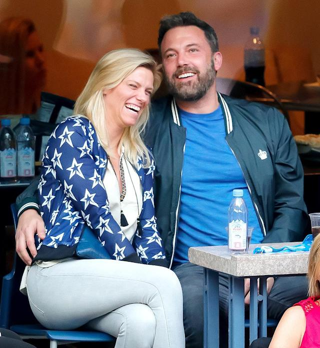 "<p>Affleck was all loved up with his girlfriend <a href=""https://www.yahoo.com/celebrity/ben-affleck-lindsay-shookus-enjoy-140222301.html"" data-ylk=""slk:at the U.S. Open"" class=""link rapid-noclick-resp"">at the U.S. Open</a> — and elsewhere — just two months after going public with her. Any ideas for a couple nickname for them? Bensay doesn't quite roll off the tongue… (Photo: Jackson Lee/WireImage) </p>"