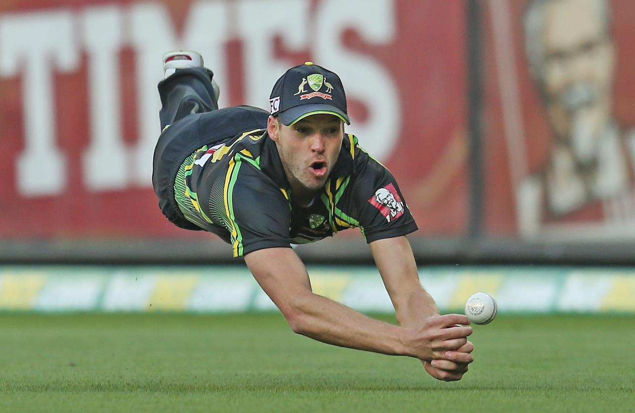 MELBOURNE, AUSTRALIA - JANUARY 28:  Ben Laughlin of Australia drops a catch in the outfield during game two of the Twenty20 International series between Australia and Sri Lanka at the Melbourne Cricket Ground on January 28, 2013 in Melbourne, Australia.  (Photo by Scott Barbour/Getty Images)