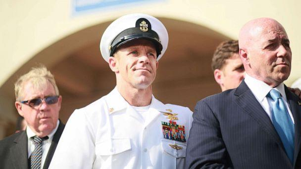 PHOTO: Navy Special Operations Chief Edward Gallagher celebrates after being acquitted of premeditated murder at Naval Base San Diego, July 2, 2019, in San Diego. (Sandy Huffaker/Getty Images)