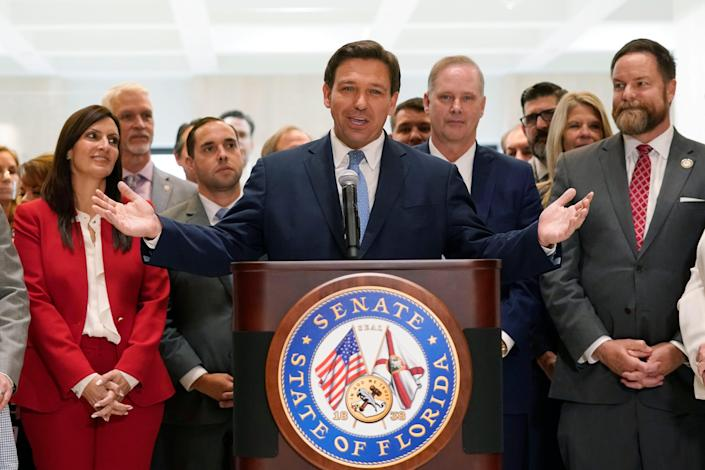 TheFlorida state law banning vaccine passports went into effect on July 1and is outlined in an executive order from Republican Gov. Ron DeSantis. In This April 30, 2021 photo, DeSantis speaks at the end of a legislative session at the Capitol in Tallahassee, Florida.
