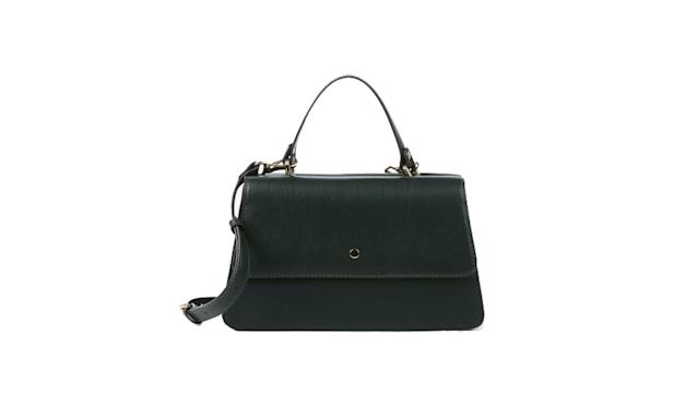 "<p>Suzette vegan accordian satchel, $55,<a href=""https://www.solesociety.com/suzette-black.html?color=woodland-green&size=one-size"" rel=""nofollow noopener"" target=""_blank"" data-ylk=""slk:solesociety.com"" class=""link rapid-noclick-resp""> solesociety.com </a> </p>"