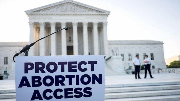 PHOTO: A podium awaits pro-choice speakers in front of the Supreme Court, June 27, 2016, in Washington, D.C. A ruling is expected in Whole Woman's Health v. Hellerstedt, a Texas case the places restrictions on abortion clinics. (Pete Marovich/Getty Images)