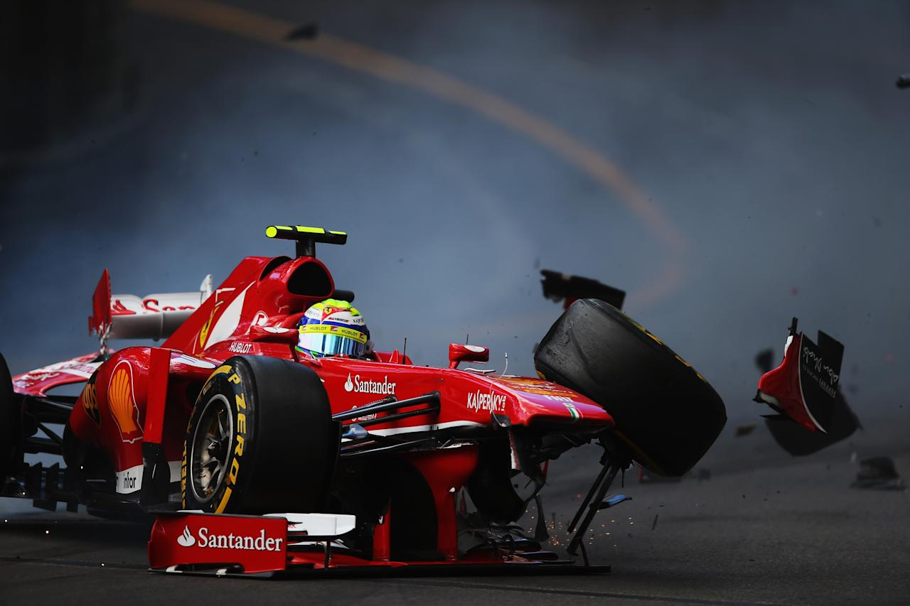 MONTE-CARLO, MONACO - MAY 25:  Felipe Massa of Brazil and Ferrari crashes at St Devote during qualifying for the Monaco Formula One Grand Prix at the Circuit de Monaco on May 25, 2013 in Monte-Carlo, Monaco.  (Photo by Bryn Lennon/Getty Images)