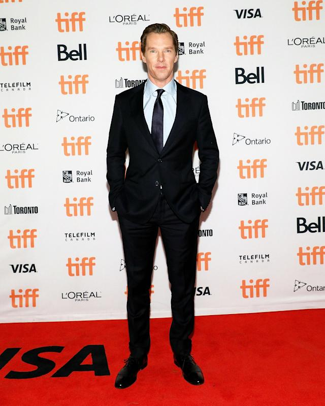 "<p><a href=""https://www.yahoo.com/movies/tagged/benedict-cumberbatch"" data-ylk=""slk:Benedict Cumberbatch"" class=""link rapid-noclick-resp"">Benedict Cumberbatch</a> during the <a href=""https://www.yahoo.com/movies/tagged/toronto-film-festival"" data-ylk=""slk:2017 Toronto International Film Festival"" class=""link rapid-noclick-resp"">2017 Toronto International Film Festival</a> for <a href=""https://www.yahoo.com/movies/film/the-current-war"" data-ylk=""slk:The Current War"" class=""link rapid-noclick-resp""><em>The Current War</em></a>, on Sept. 9 (Photo: Taylor Hill/Getty Images)<br><br></p>"