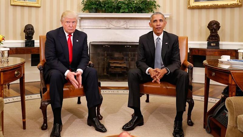 Donald Trump and Barack Obama met for the first time in the White House. Photo: AAP