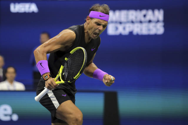 Rafael Nadal, of Spain, reacts after scoring a point against Daniil Medvedev, of Russia, during the men's singles final of the U.S. Open tennis championships Sunday, Sept. 8, 2019, in New York. (AP Photo/Charles Krupa)