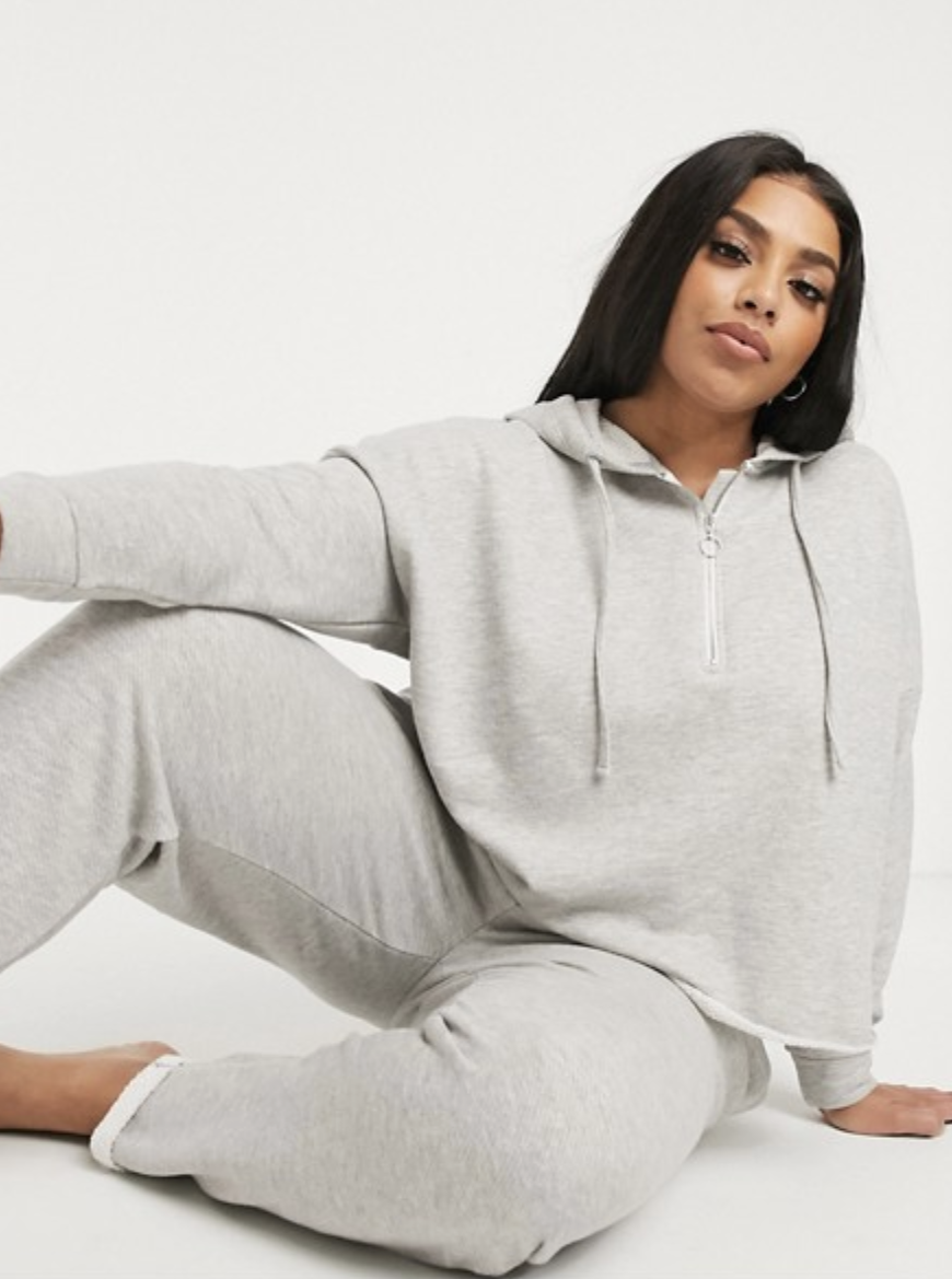 "Gray joggers will never go out of style, so it only makes sense to invest in a pair like these from Asos. The raw cuffed hem make these feel easygoing and relaxed, but you can even dress them up with booties when you want to elevate your 'fit. $29, Asos. <a href=""https://www.asos.com/us/asos-curve/asos-design-curve-lounge-mix-match-loopback-raw-edge-jogger/prd/13837559"" rel=""nofollow noopener"" target=""_blank"" data-ylk=""slk:Get it now!"" class=""link rapid-noclick-resp"">Get it now!</a>"