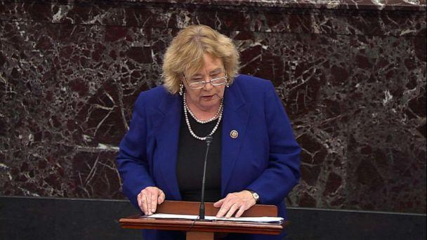 PHOTO: House Manager Rep. Zoe Lofgren speaks during closing arguments in the impeachment trial of President Donald Trump, Feb. 3, 2020. (ABC News)
